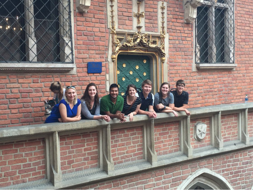 Students on a castle ledge