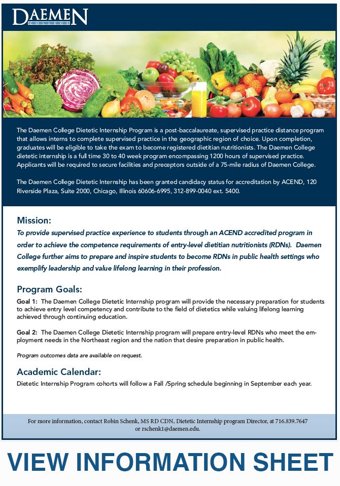 Dietetic Internship Daemen College