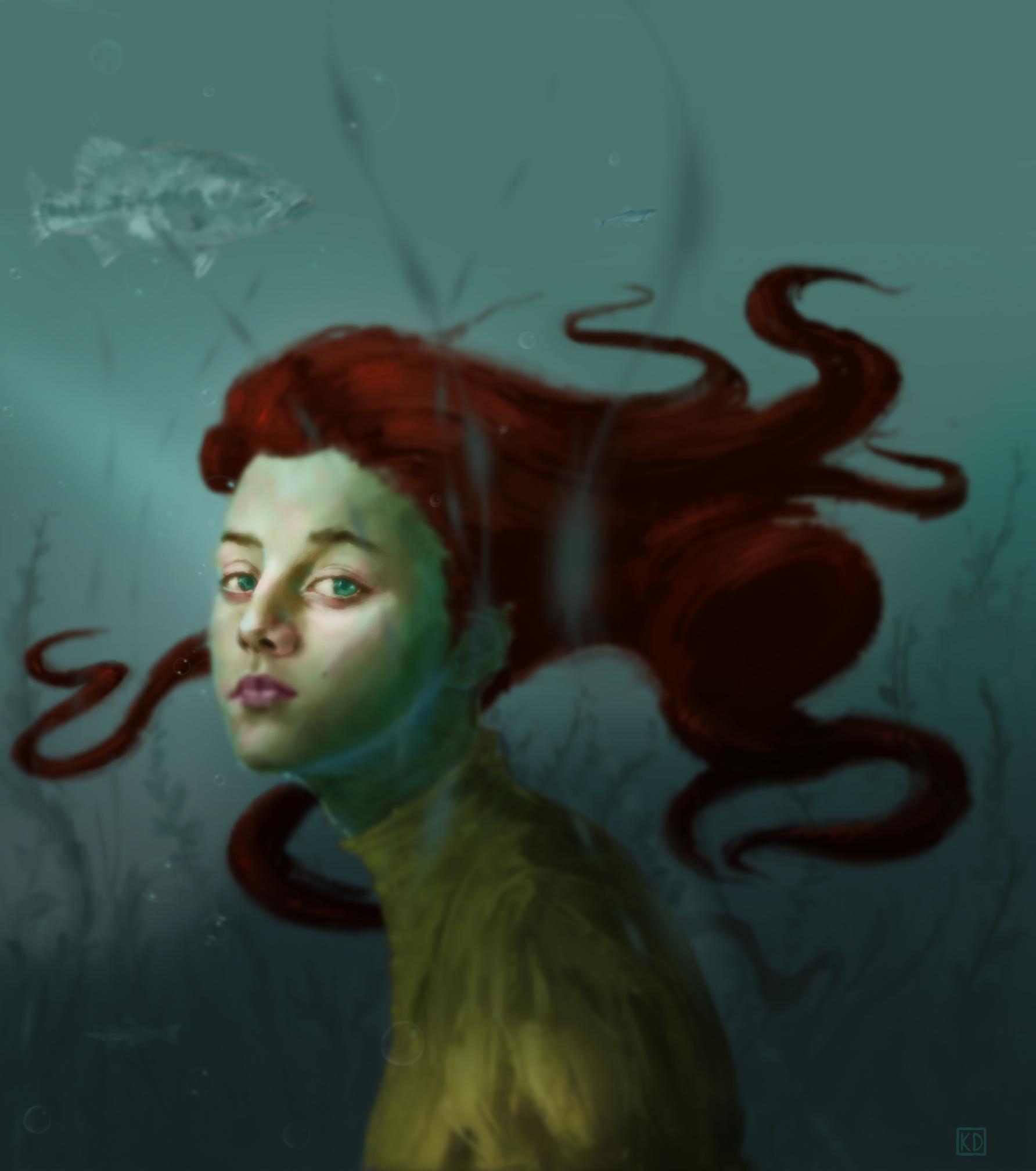 """Kenneth Doyle, """"La fille de l'eau,"""" Digital Painting"""