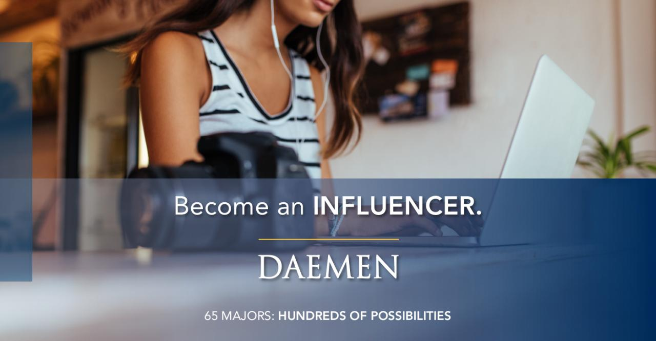 "Marketing Banner, female student working on a laptop with the text ""Become an influencer"" on top of it."