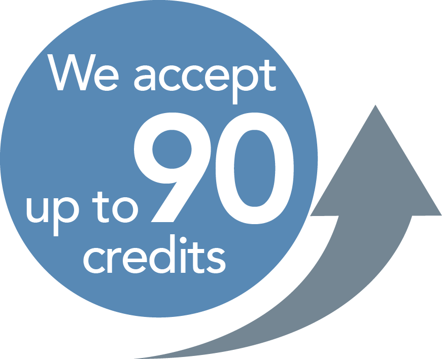 We accept up to 90 transfer credits!