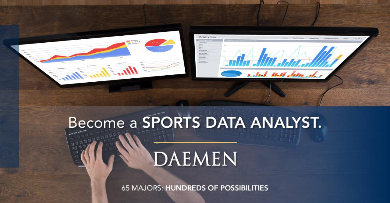 "Data Science Banner, above shot of two computer screens with the text ""Become a Sports Data Analyst"" on top of it."